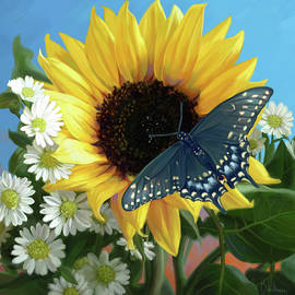Sunflower with Butterfly - Lucie Bilodeau