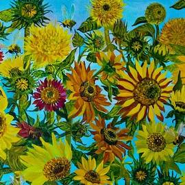Sunflowers and Bees by Elena Pronina