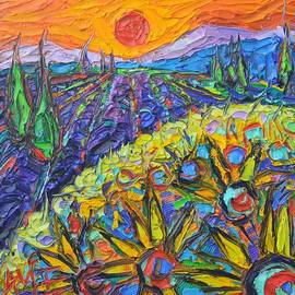 Ana Maria Edulescu - SUNFLOWERS AND LAVENDER FIELDS AT SUNSET 9 impressionist knife oil painting by Ana Maria Edulescu