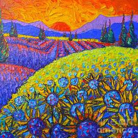 Ana Maria Edulescu - SUNFLOWERS AND LAVENDER FIELDS WITH CYPRESS TREES AT SUNSET abstract impressionist landscape