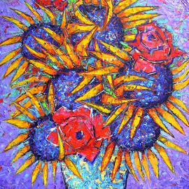Ana Maria Edulescu - SUNFLOWERS AND RED ROSES modern impressionist impasto palette knife oil painting Ana Maria Edulescu