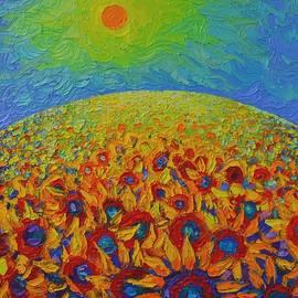 Sunflowers Field Contemporary Impressionist Landscape Ana Maria Edulescu Palette Knife Oil Painting  by Ana Maria Edulescu