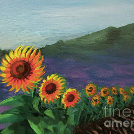 Sunflowers in a row by Yoonhee Ko