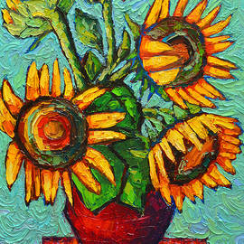 Ana Maria Edulescu - Sunflowers In Red Vase Original Oil Painting