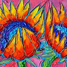 Sunflowers Love - Modern Colorful Floral Original Palette Knife Oil Painting By Ana Maria Edulescu by Ana Maria Edulescu