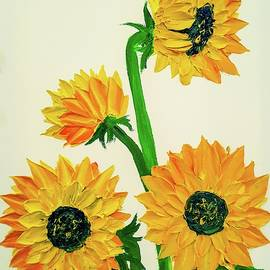 Jessica T Hamilton - Sunflowers Using Palette Knife