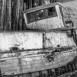 Sunken Boat In Noyo Harbor B and W II by Bill Gallagher
