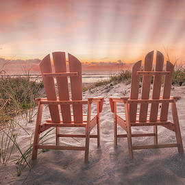 Sunrays at Dawn by the Sea by Debra and Dave Vanderlaan