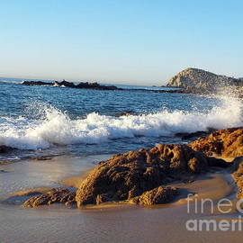 Sunrise on rocky beaches of Cabo Mexico by Charlene Cox