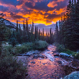 Sunrise over the Middle Fork of the St. Vrain River by James Sibert