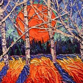 Ana Maria Edulescu - Sunrise Through Trees Contemporary Impressionist Palette Knife Oil Painting By Ana Maria Edulescu