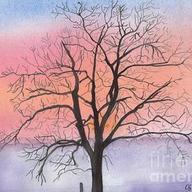 Conni Schaftenaar - Sunrise Walnut Tree 2 watercolor painting