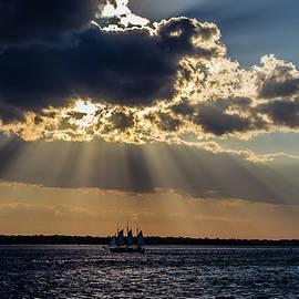 Menachem Ganon - Sunset and a three masted schooner