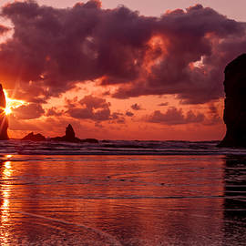 Sunset At Cannon Beach Oregon by Teri Virbickis