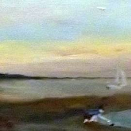 Peter Gartner - Sunset at Margate with boats and a boy with a toy boat
