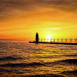 Frani Smith - Sunset at South Haven Lighthouse