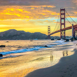 Sunset At The Golden Gate Bridge by James Udall