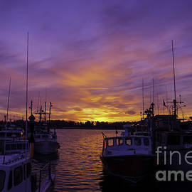 Sunset At The Town Dock by Joe Geraci