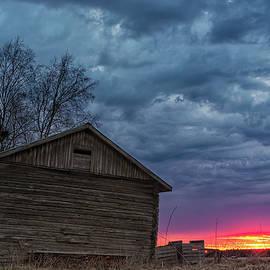 Jukka Heinovirta - Sunset Behind An Old Barn House