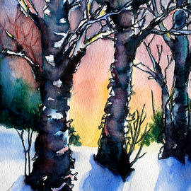 Sunset Birches on the Rise by Kathy Braud