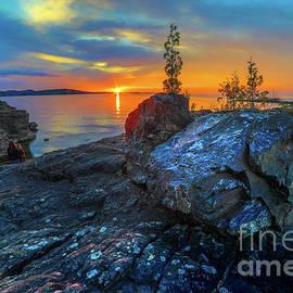 Sunset Black Rocks Marquette Michigan -7491 by Norris Seward