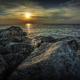 Randall Nyhof - Sunset from the Channel Breakwater Rocks