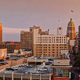 Sunset Golden Hour Light Panorama Of San Antonio Skyline - Bexar County South Texas by Silvio Ligutti