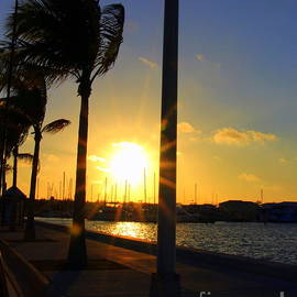 Sunset and boats in  Key West by Charlene Cox