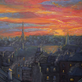 Ken Figurski - Sunset In Paris Painting
