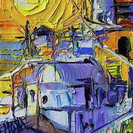 Mona Edulesco - SUNSET LIGHT IN OIA - Mini Santorini Cityscape 02 - palette knife oil painting