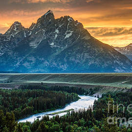 Gary Whitton - Sunset on Grand Teton and Snake River