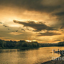 Sunset On The Willamette River by Robert Bales