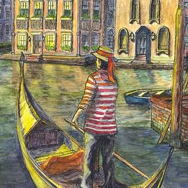 Carol Wisniewski - Sunset On Venice - The Gondolier