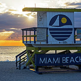 Sunset Over Miami Beach Miami Lifeguard House Florida by Toby McGuire