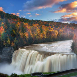 Sunset over Middle Falls  by Mark Papke