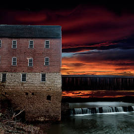 Sunset over Mill, Cover Bridge and Waterfall by Tyler Schlitt
