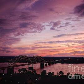 Sunset Over The I40 Bridge In Memphis Tennessee  by T Lowry Wilson