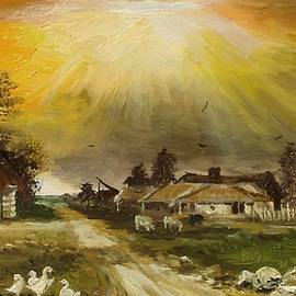 Sunset over the village by Sorin Apostolescu