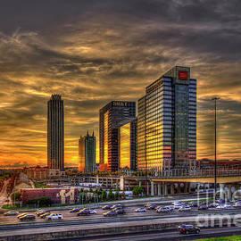 Reid Callaway - Sunset Reflections and Traffic Midtown Atlanta 17th Street Bridge Art