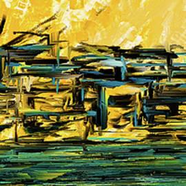 Sunset Showdown - Downtown Cityscape Art by Lourry Legarde