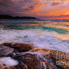 Sunset Wave Curl by Mike Dawson