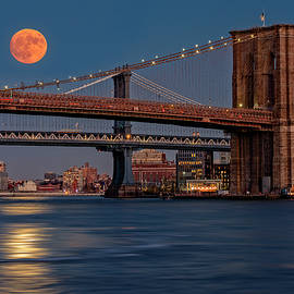 Susan Candelario - Super Moon Over Manhattan and Brooklyn Bridges NYC
