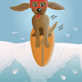 Surf Dog Taking the Drop by Barefoot Bodeez Art