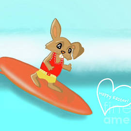 Surfing Bunny by Barefoot Bodeez Art