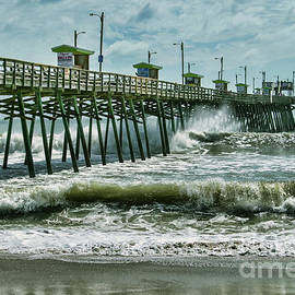 Surge Under The Bogue Pier Beach Seascape Outer Banks North Carolina by Kelley Freel-Ebner