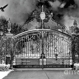 Kathy Fornal - Surreal Infrared Gate Gothic Ravens - Black White Gothic Gate With Ravens