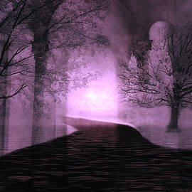 Kathy Fornal - Surreal Purple Fantasy Nature Path Trees Landscape