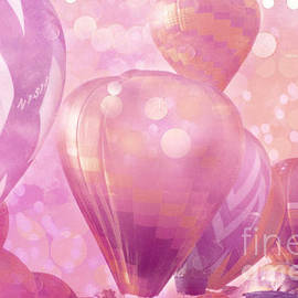 Kathy Fornal - Surureal Hot Air Balloons Lavender Pink White Decor - Carnival Hot Air Balloons Nursery Room Decor