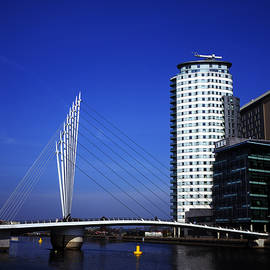 Michael Walters - Suspension Bridge across The Manchester Ship Canal opposite Media City Salford Quays Greater Manches