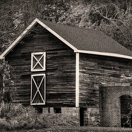 Sussex Barn in Black and White by Louise Reeves